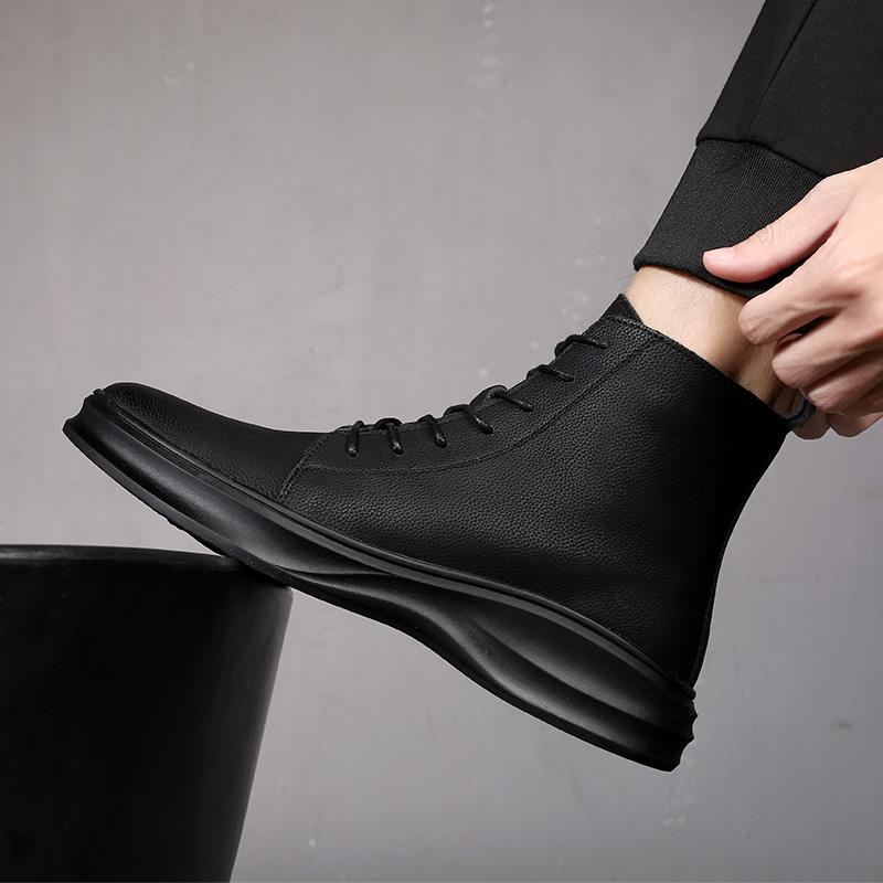马丁靴男春季皮靴真皮子男皮鞋男黑色男英伦透气靴子单靴高帮鞋男