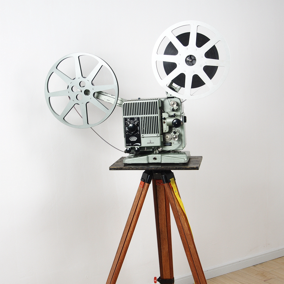 8 German antique Siemens 16mm 16mm cinema projector with wooden tripod