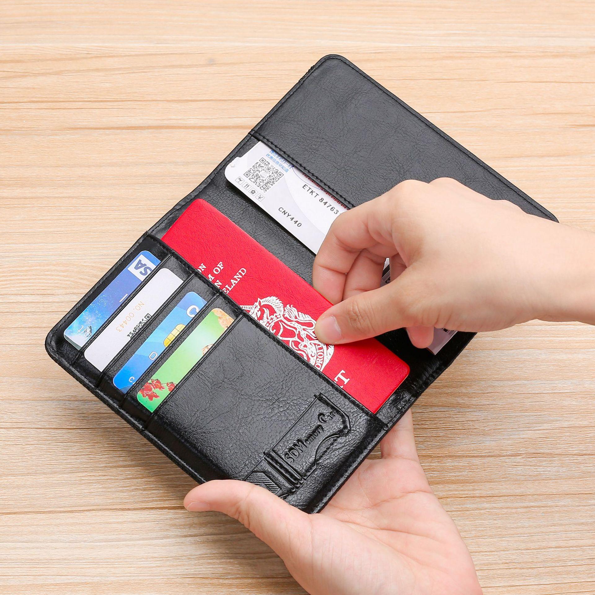 Túi đựng hộ chiếu, túi đựng hộ chiếu chống trộm RFID đa chức năng PU chống mài mòn, ngăn đựng vé tùy chỉnh, ngăn đựng hộ chiếu - Túi thông tin xác thực
