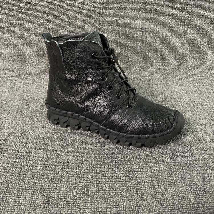 2018冬季新款女鞋妈妈短筒圆头平底牛皮鞋a女鞋系带绒里真皮女短靴