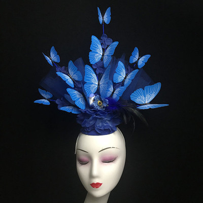 Chinese Wind Butterfly Feather Headdress Headdress Stage Performance Walking Show Annual Meeting Photo Bride Creative Headdress Girl