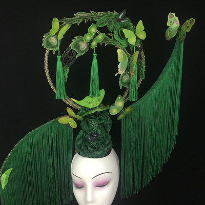 All-new Chinese style, retro exaggeration, stage performance, walk-show model, female makeup, creative tassels headdress