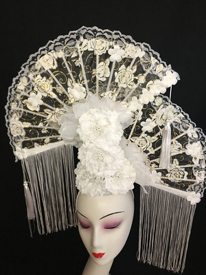 Individual Originality Design White Fan tassels Stage Show Atmospheric Luxury Creative Cosmetic Makeup Modeling Headdress Woman