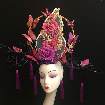 Creative Makeup Competition of Chinese Typhoon T Show Stage Exaggerates Atmospheric tassels Headwear