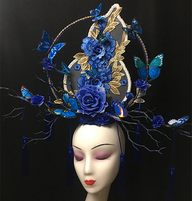 Creative Makeup Competition for Chinese Style Blue Stage Show Exaggerates Atmospheric tassels Headwear