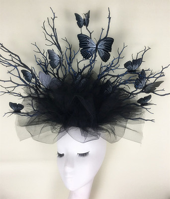 Black T-stage model walk show stage performance exaggerated headdress headdress forest photography photo accessories