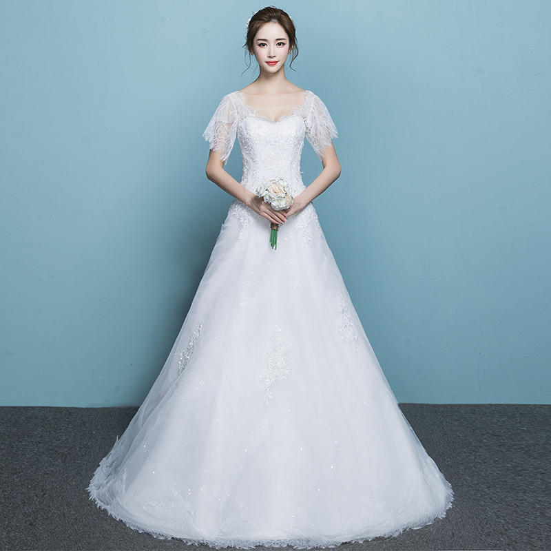 Light wedding dress 2018 new bride Korean version of the small tail ...