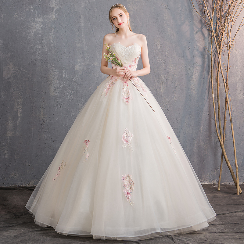 8c0be0029b7 Tube top wedding dress 2018 new Korean bride married simple princess was thin  large size champagne
