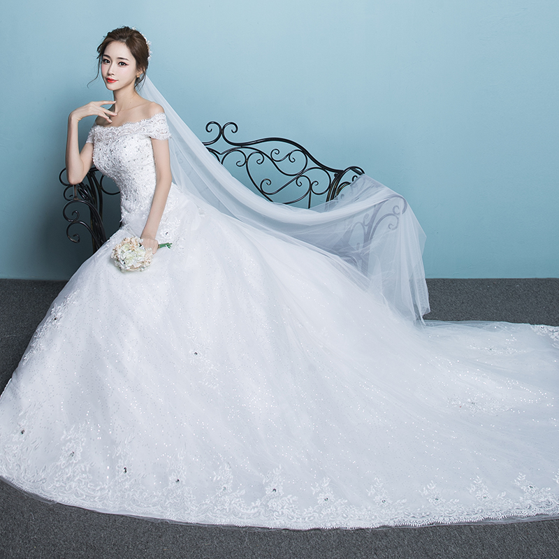 One-shoulder long tail wedding dress 2018 new bride princess Qi thin ...