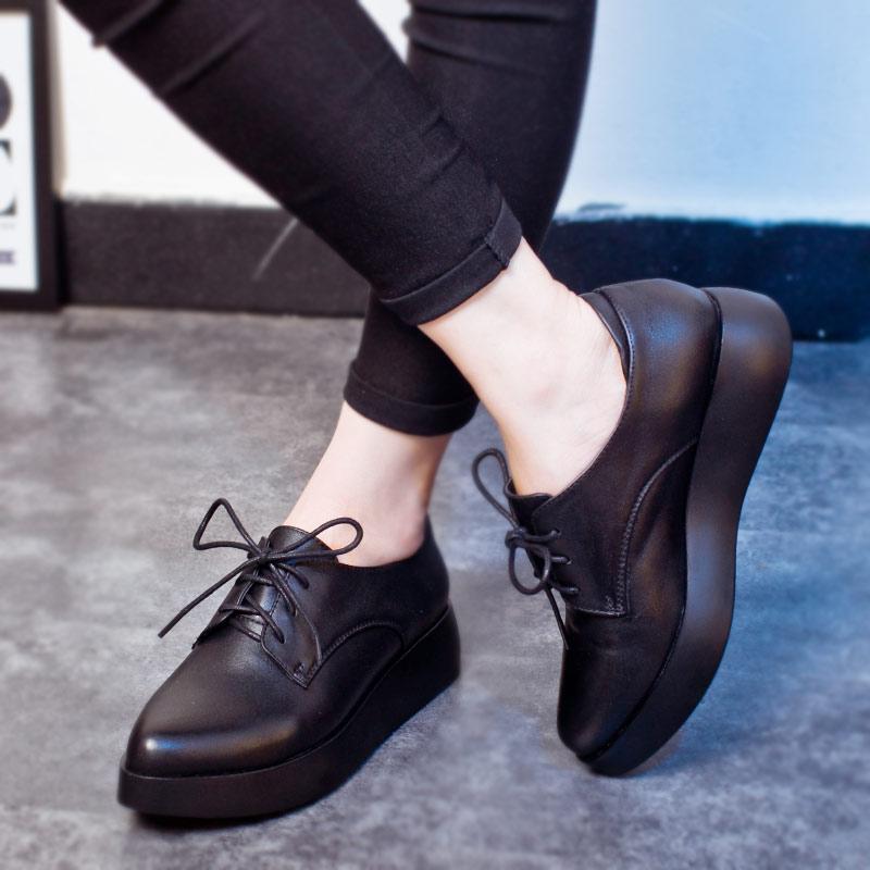 女鞋2021新款秋季黑色厚底松糕鞋百搭单鞋英伦风小皮鞋女软皮真皮