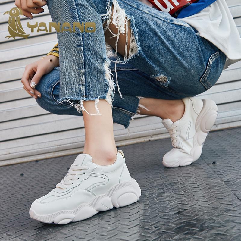 耶纳诺·啄木鸟女鞋真皮小白鞋新款小熊鞋网红超火老爹鞋ins运动_天猫超市优惠券