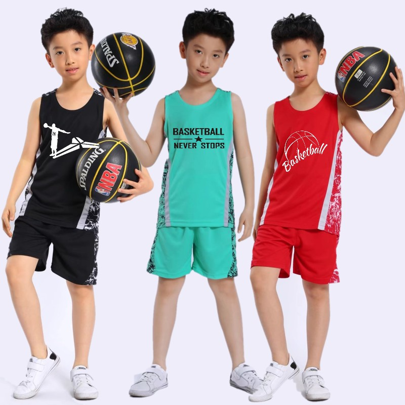f693e7dfa6c Summer children's basketball suit set Jersey Boys pupils training  kindergarten performance clothing sports custom girl