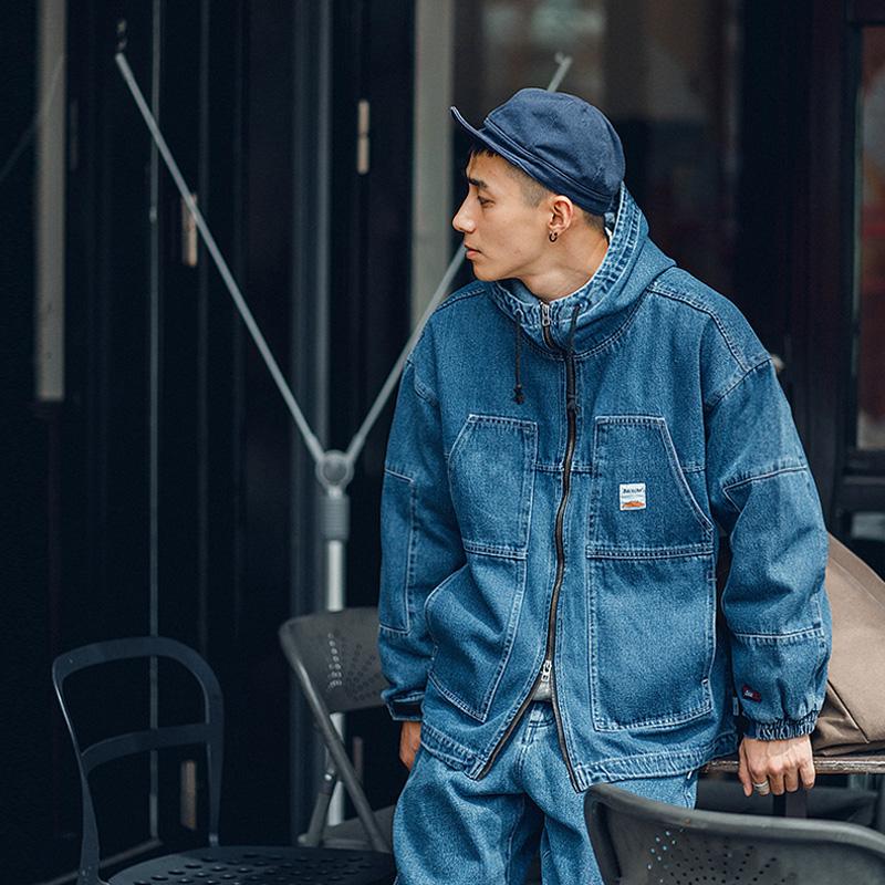 BDCT自制复古多口袋牛仔外套男连帽冲锋衣秋季中长款宽松机能夹克