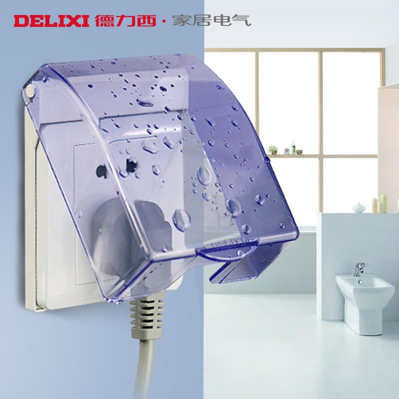 delixi socket waterproof box blue transparent waterproof switch box bathroom bathroom home wall