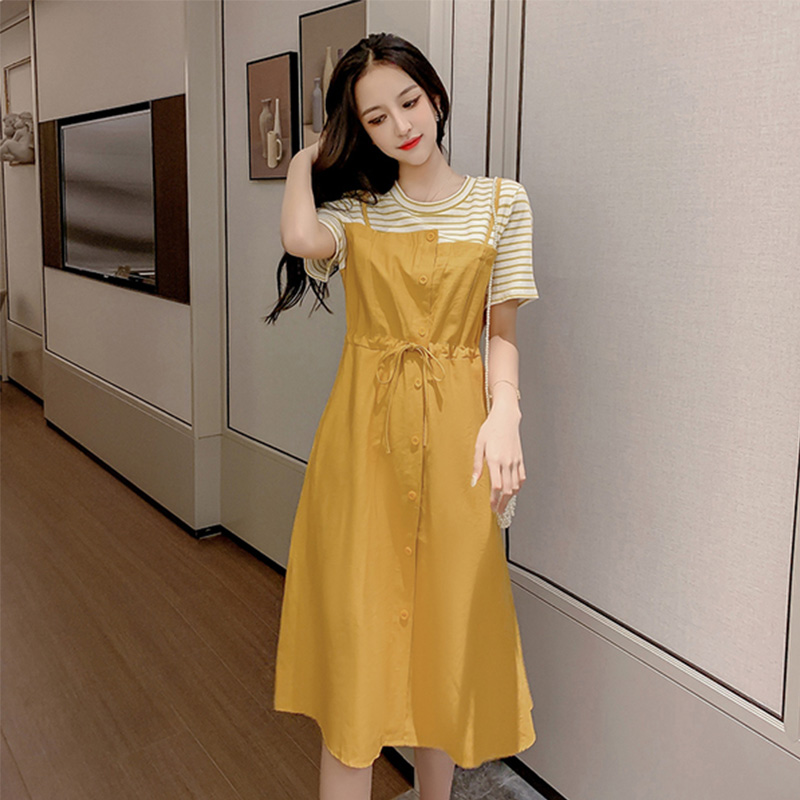 连衣裙2019新款夏假两件女士智熏裙法式收腰长裙裙子流行仙女黄色