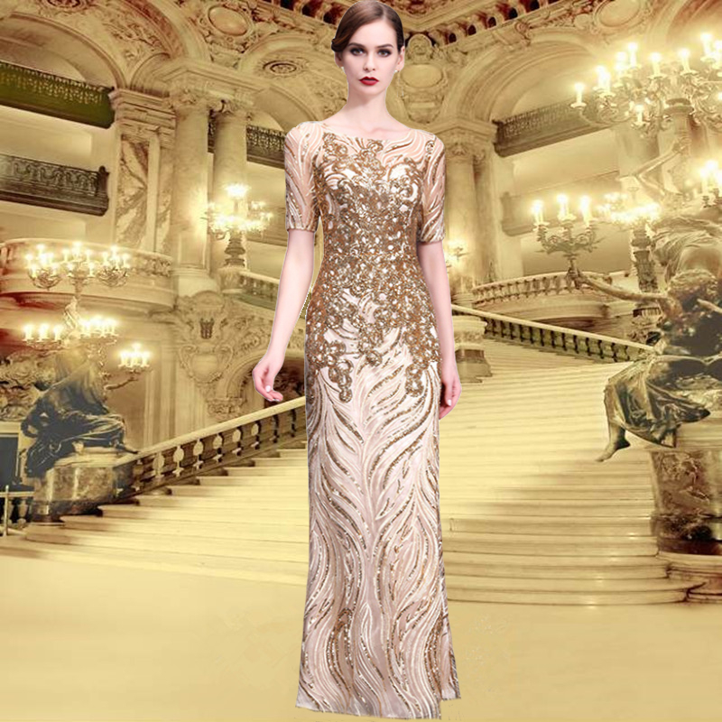 Gold Dinner Evening Dress Round Neck Slim Long Paragraph Large Size Wedding Female