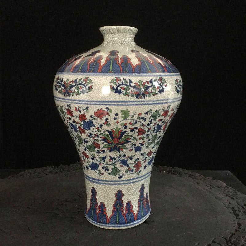 景德镇仿古古典开片青花梅瓶 红木古典家具风格装饰台面花瓶