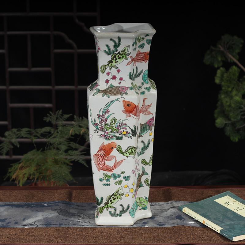 景德镇粉彩仙鹤花瓶狮子粉彩古彩仿古花瓶 鱼藻纹孔雀30 35 40高