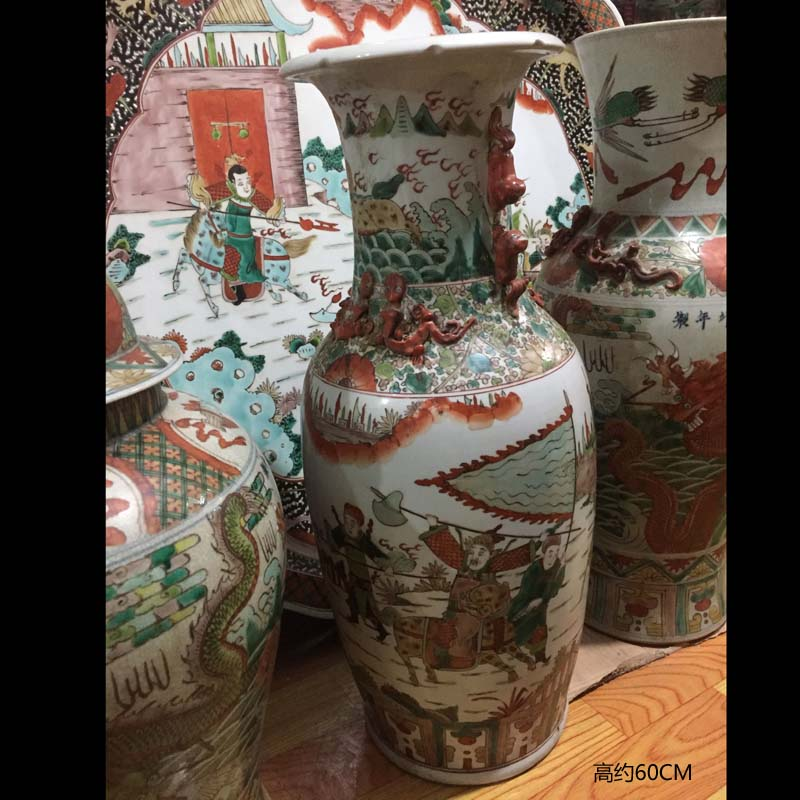Jingdezhen imitation daming Wan Linian ceramics porcelain vase three fairy offer birthday felicitations ceramic vase household furnishings furnishing articles of my ears