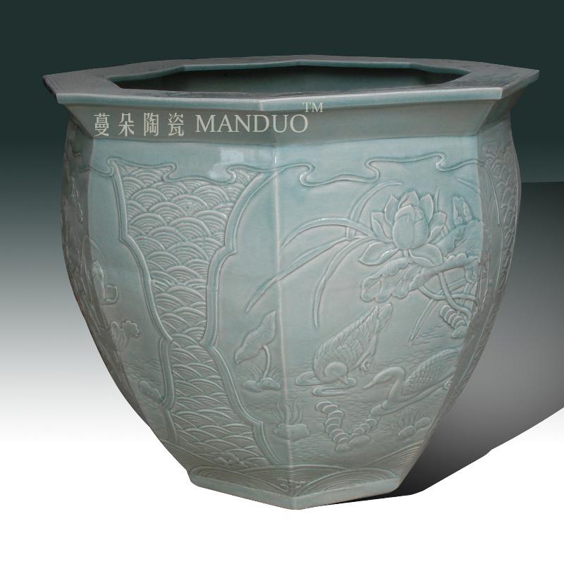 Jingdezhen square porcelain its of VAT relief porcelain, celadon VAT archaize classical embossed lotus vats