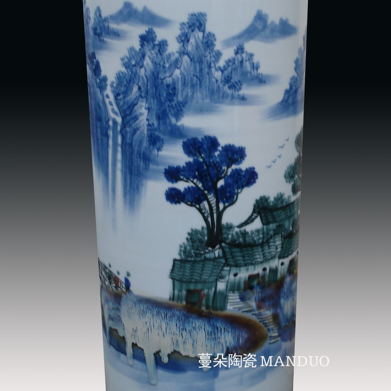 Jingdezhen hand - made quiver vase landed straight vase painting and calligraphy vase M a handwritten text pen container