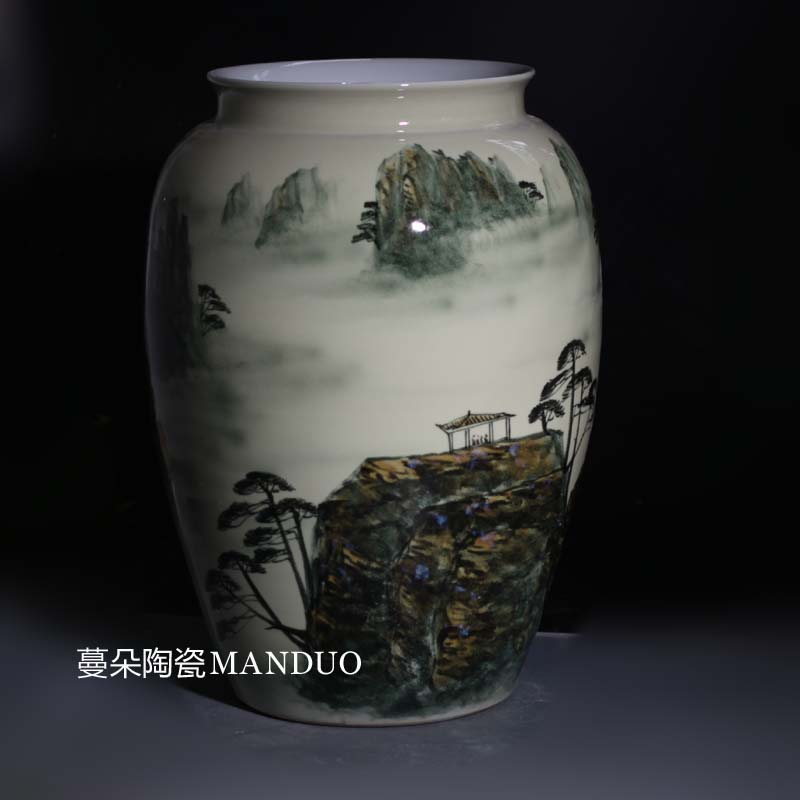 Jingdezhen hand - made huangshan mountain scenery idea gourd vases idea gourd can display porcelain vase vase 42-58 cm