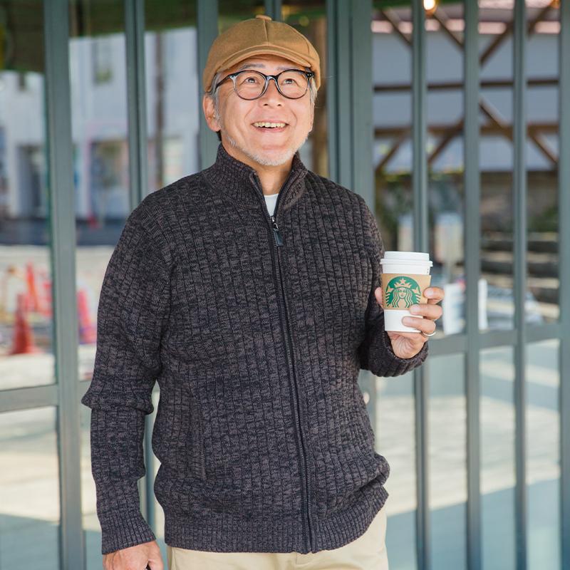 爸爸秋装毛衣中年显年轻中老年男装外套爷爷针织线衣老人秋冬衣服