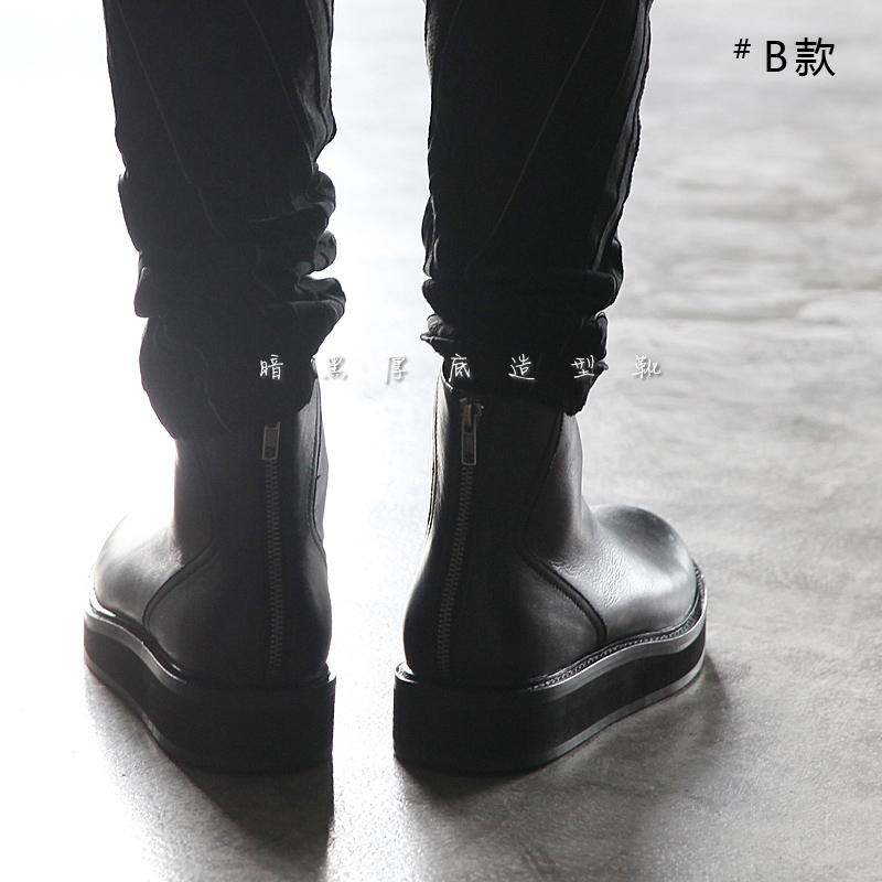 造型暗黑切尔西靴男短靴厚底欧美时尚男春季圆头套筒靴子高帮真皮