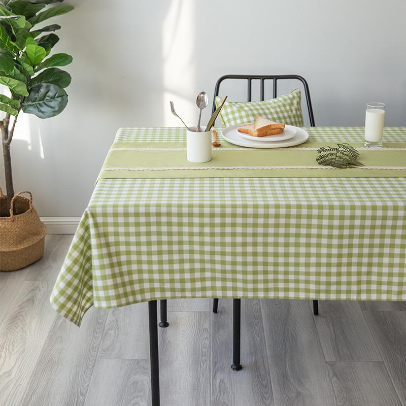 桌布布艺防水长方形餐桌布绿色格子田园小清新简约现代春夏小桌布