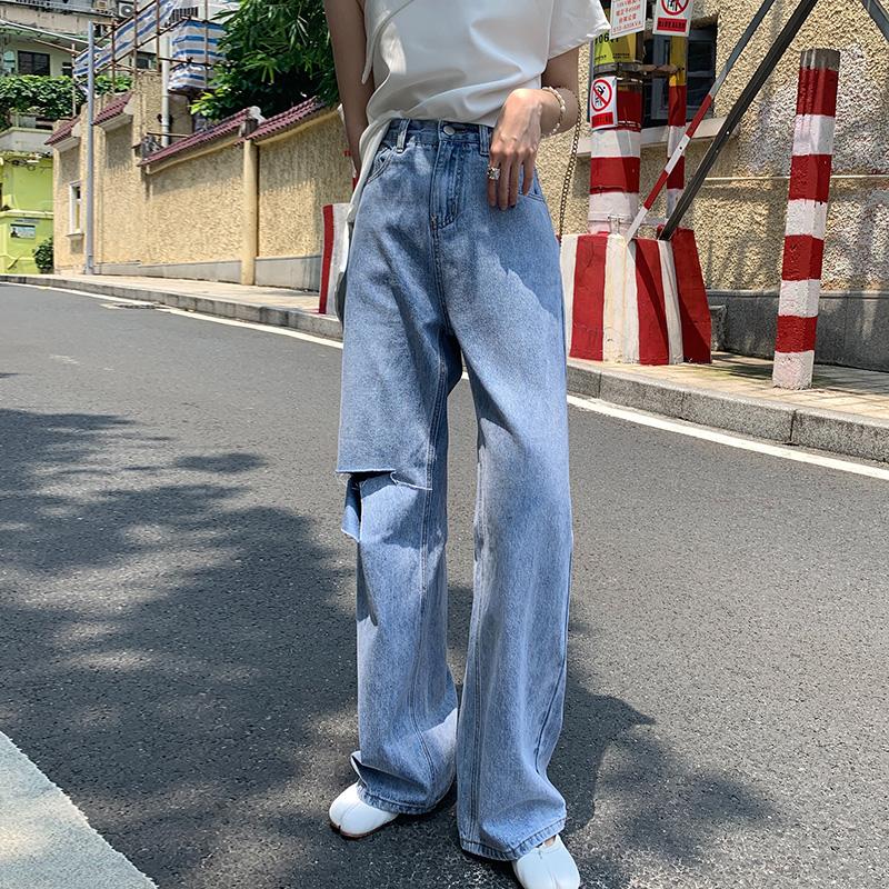 2019春夏浅色阔腿裤高腰牛仔裤女显瘦百搭宽松直筒裤长裤