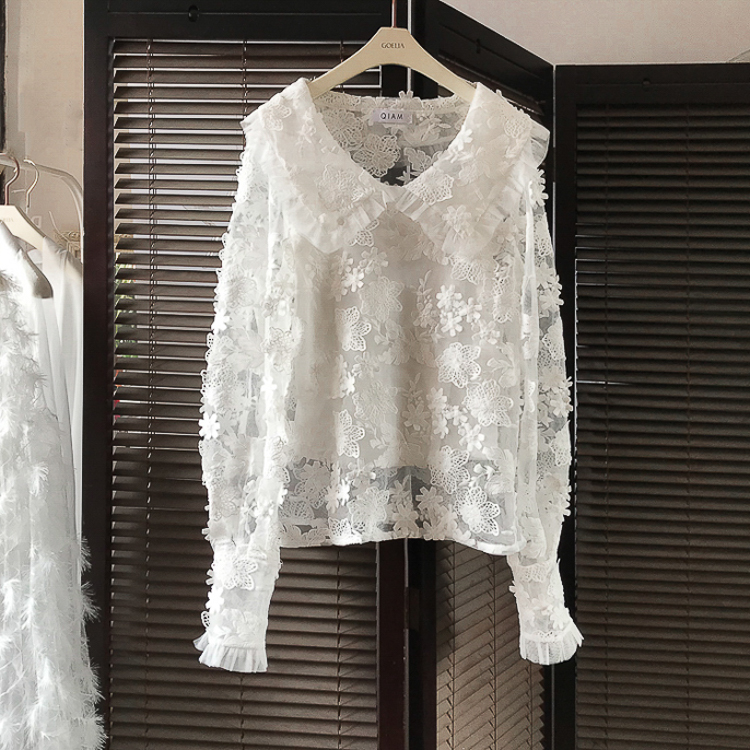 Shan  New Style Net Red Stereo Embroidered Lace Mesh Top Ride Lantern Sleeve Gentle Wind Dress