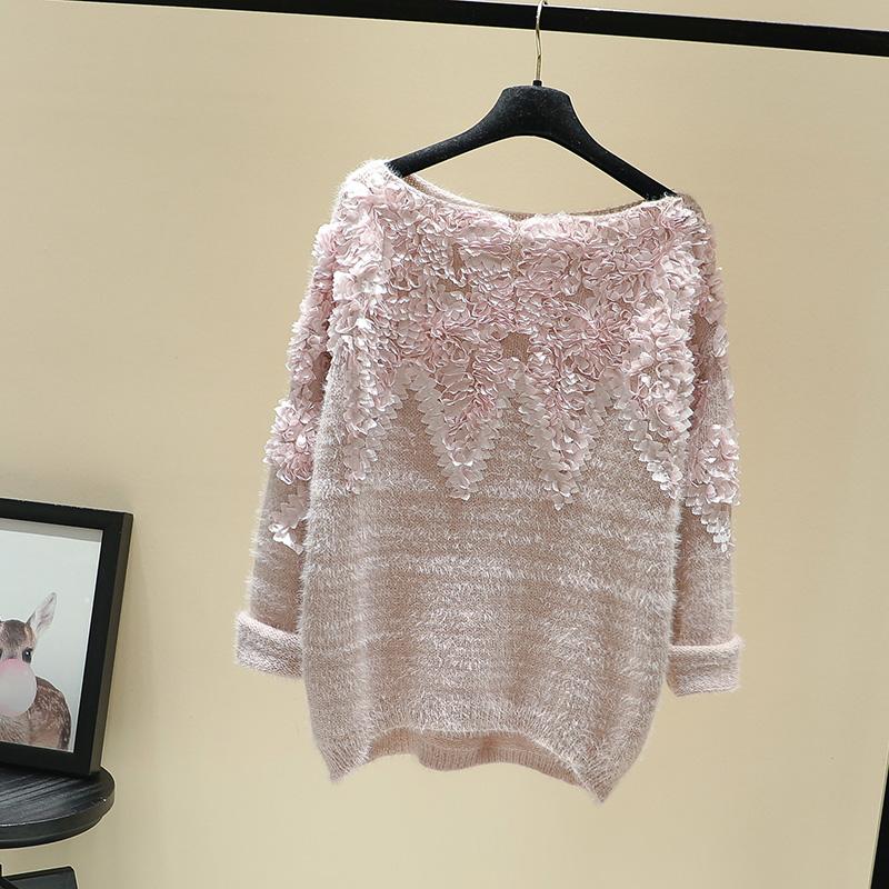 一字领优雅立体花瓣甜美粉色毛衣秋冬新柔软前短后长打底线衣上衣