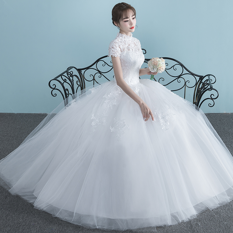 Light wedding dress 2018 new word shoulder short sleeve pregnant ...