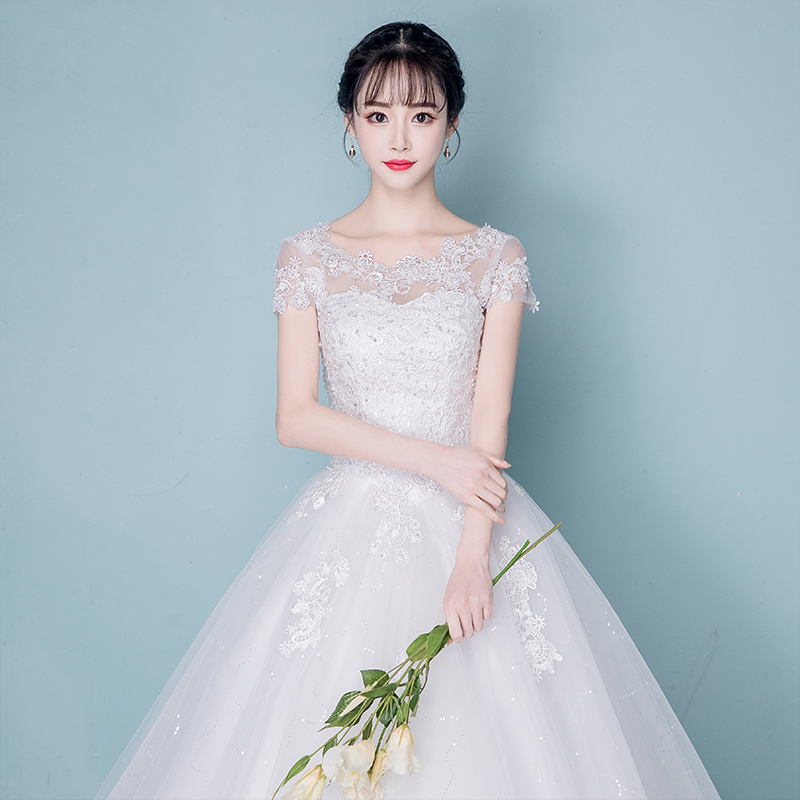 Wedding dress 2018 new Korean style shoulder-to-shoulder bride princess simple pregnant women wedding trailing thin female