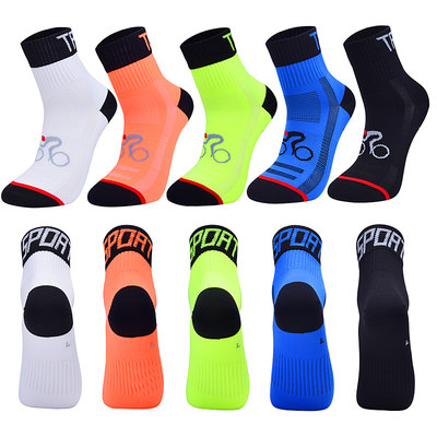 Professional middle tube riding socks breathable bicycle socks sweat-absorbent socks men and women running out outside night running reflection socks