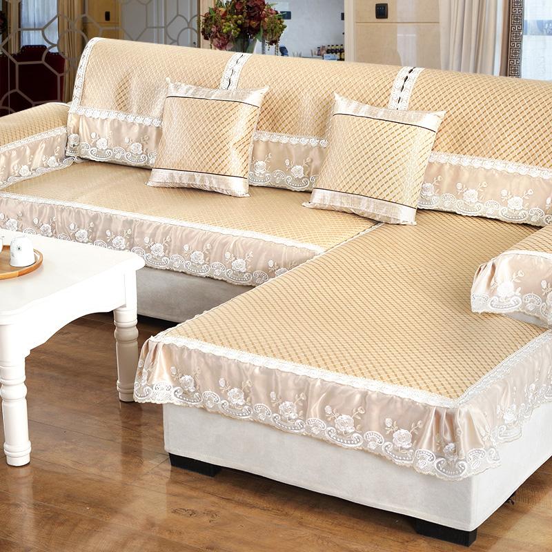Sofa đệm mùa hè mat mát mat Châu Âu băng lụa tre mat phòng khách mùa hè mây mây vải chống trượt đệm da - Ghế đệm / đệm Sofa