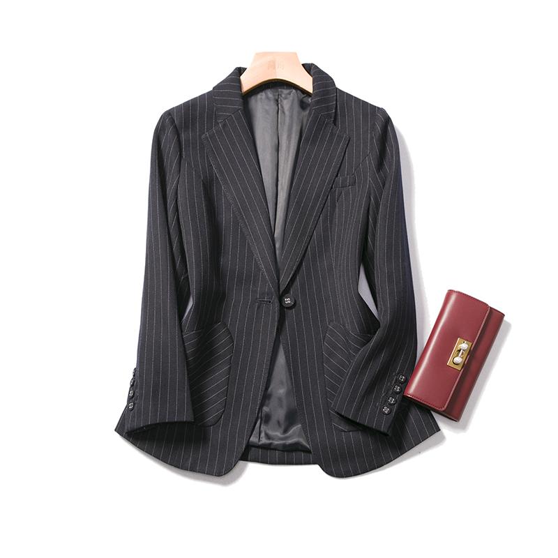 通勤OL干练利落外套修身西装上衣优雅大方一粒扣西服套装条纹女