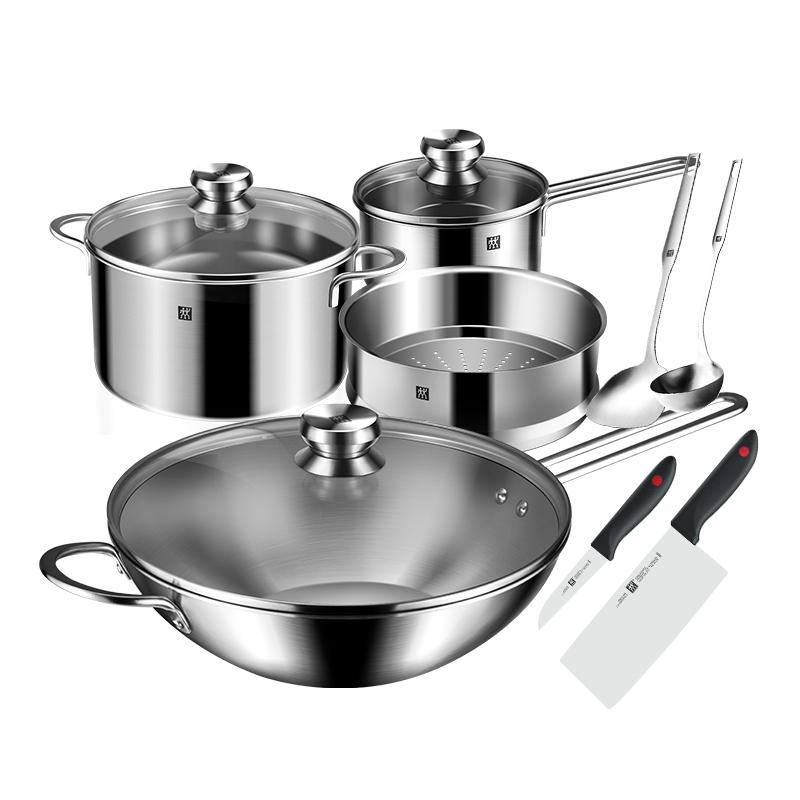 德國雙立人Nova炒鍋不銹鋼鍋組套裝廚房家用湯鍋蒸籠奶鍋鍋鏟湯勺