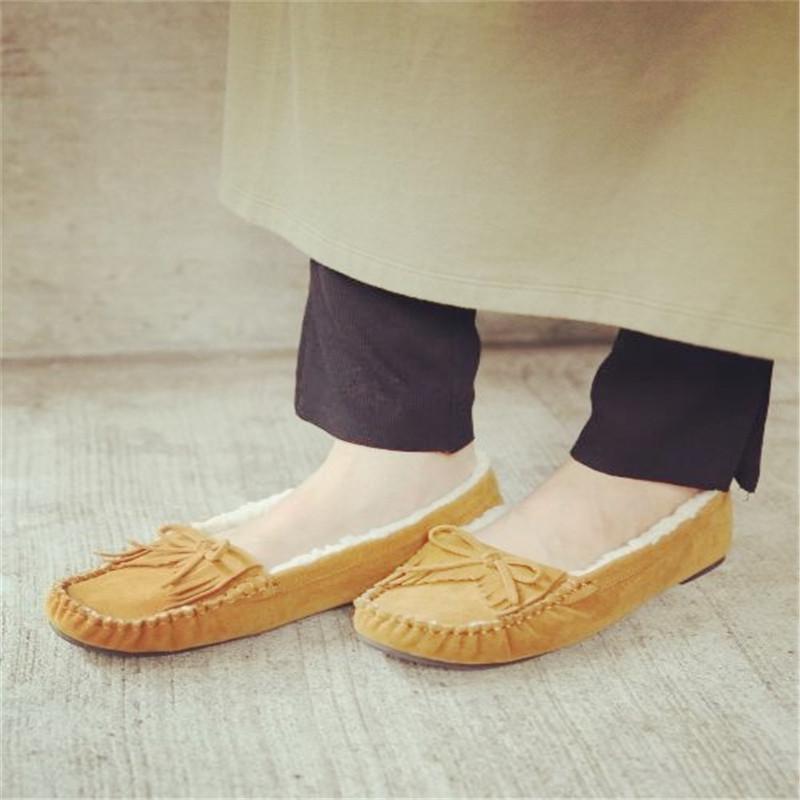 墨染·原98,清35!日本日系秋冬毛毛鞋加絨保暖流蘇蝴蝶結平底豆豆鞋