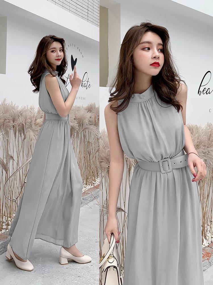 雪纺连衣裙2019夏季新款韩版女修身显瘦长款无袖长裙沙滩裙F5898
