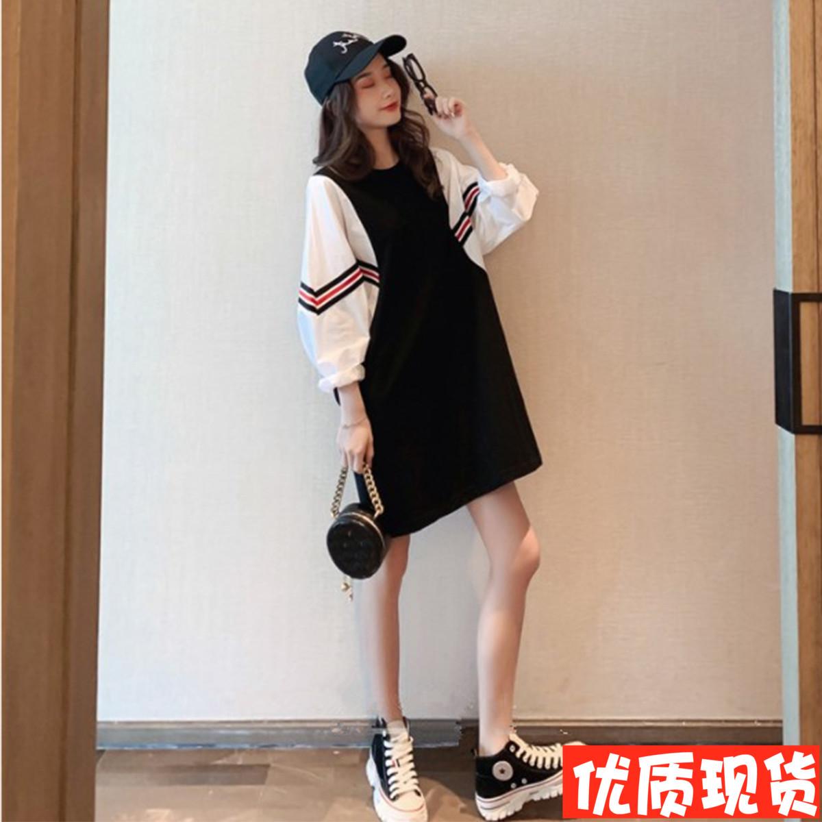连衣裙女2019秋新款韩版宽松拼接假两件长裙袖中裙子v长裙卫衣蝙蝠