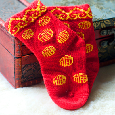 0-3 years old pure cotton socks Fuzi one year old children baby socks baby red socks
