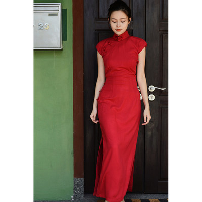 Mocetal summer and autumn sleeveless long cultural retro daily improvement solid color cotton cheongsam add fragrance - red