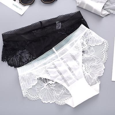 三送一蕾丝性感内裤女低腰刺绣三角底裤纯棉少女薄款蕾丝透气夏季