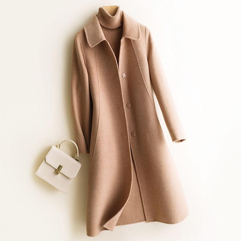 券后89.00元秋冬季新款西装领中长款毛呢大衣