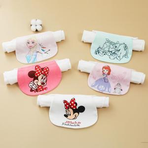 迪士尼儿童汗巾婴儿隔汗巾5条装纱布纯棉学生幼儿园垫背吸汗巾