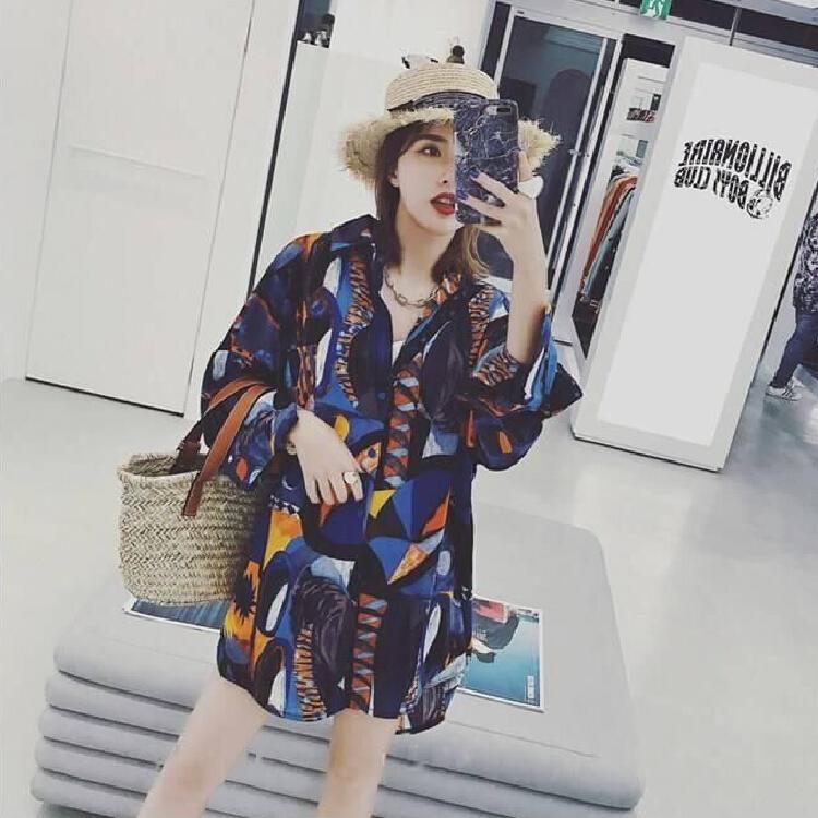 新款水墨拼色长袖印花雪纺衬衫上衣女装复古宽松防晒衬衣外套潮