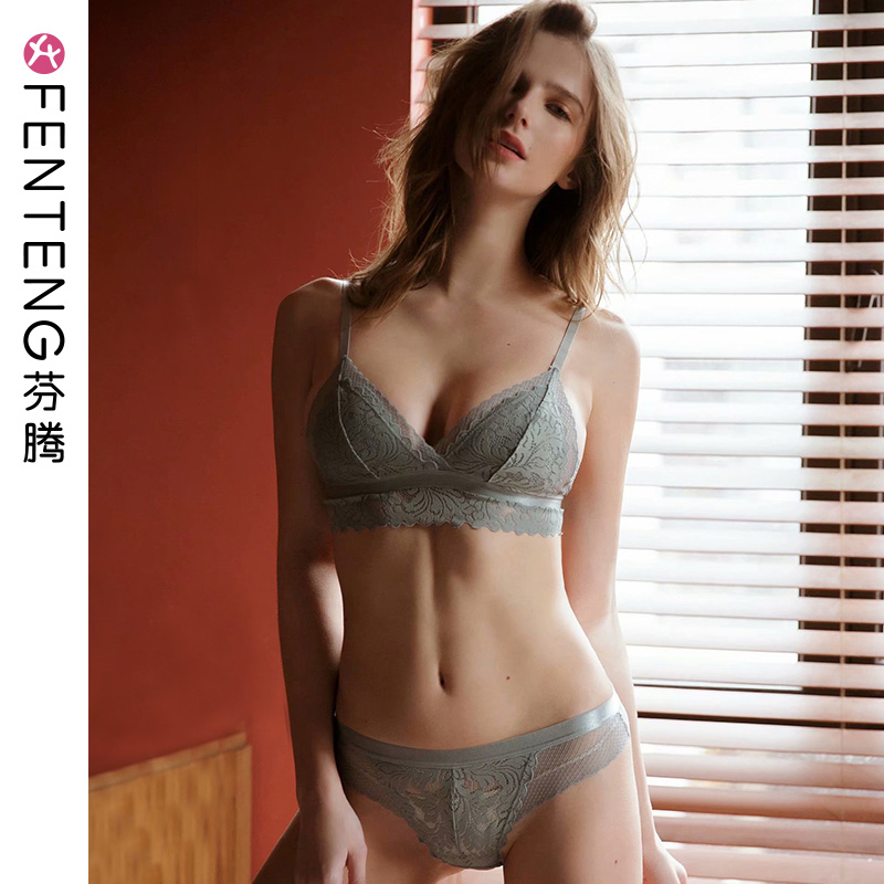 Fen Teng summer thin section bra set female no rims lace sexy gather triangle cup bra ladies underwear