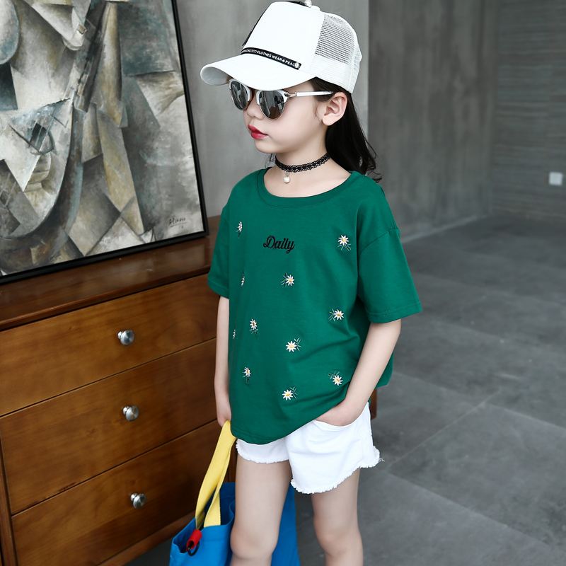 Embroidered T-shirt green