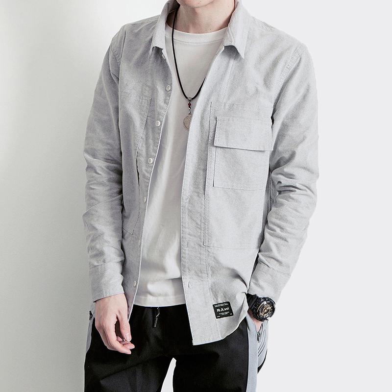 Свободное весеннее платье новая коллекция Японская клиринговая новый Литературоведческий чисто цвет сорочка мужской для отдыха длинный рукав мужской молодежный с карманами рубашка волна